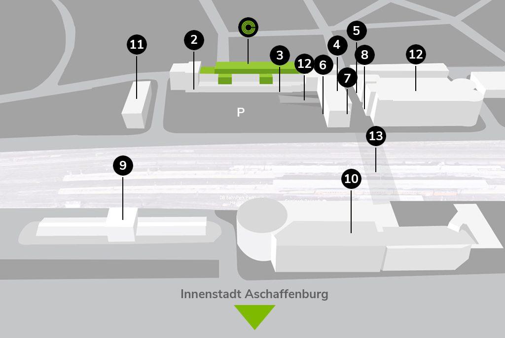 Complex Standort Map Aschaffenburg Rhein-Main Hanau Frankfurt Würzburg