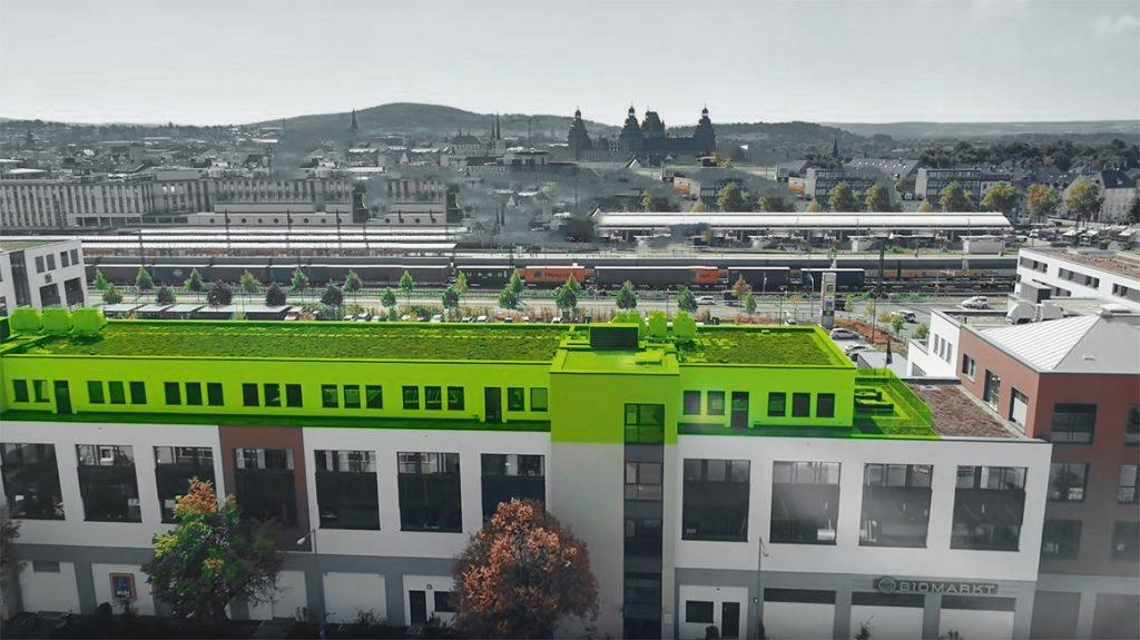 Complex Video Drohne Flug Gebäude Penthouse Büro