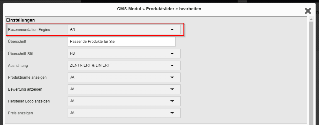 Recommendation Optionen CMS