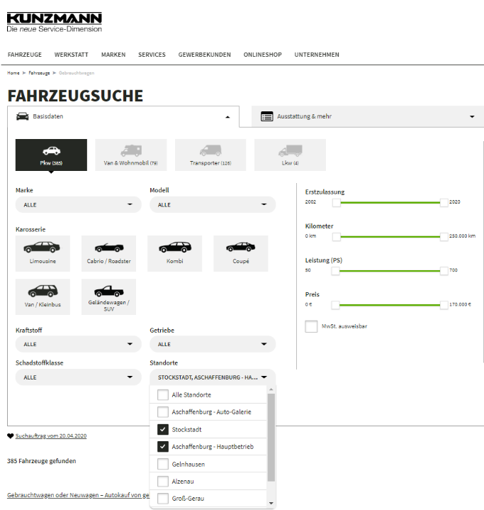 Kunzmann Fahrzeugsuche Such Filter Optionen